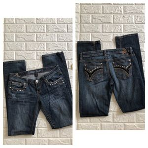 Antique Rivet studded straight jeans